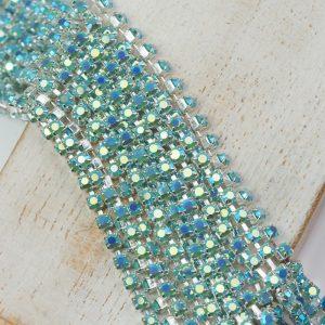 2.5 mm rhinestone chain with Turquoise AB Preciosa crystals in silver setting x 20 cm