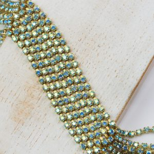 2 mm rhinestone chain with Aqua AB Preciosa crystals in raw setting x 20 cm
