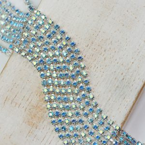 2 mm rhinestone chain with Aqua AB Preciosa crystals in silver setting x 20 cm