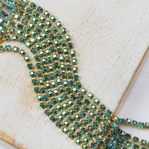 2 mm rhinestone chain with Emerald AB Preciosa crystals in raw setting x 20 cm