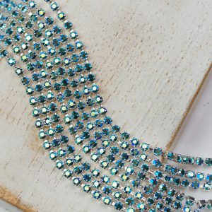 2 mm rhinestone chain with Emerald AB Preciosa crystals in silver setting x 20 cm