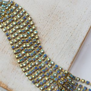 2 mm rhinestone chain with Light Sapphire AB Preciosa crystals in raw setting x 20 cm