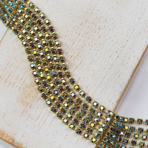 2 mm rhinestone chain with Siam AB Preciosa crystals in raw setting x 20 cm