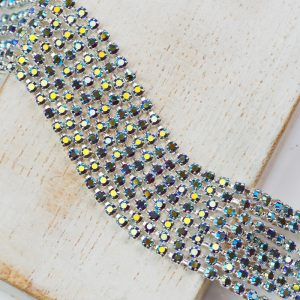 2 mm rhinestone chain with Siam AB Preciosa crystals in silver setting x 20 cm
