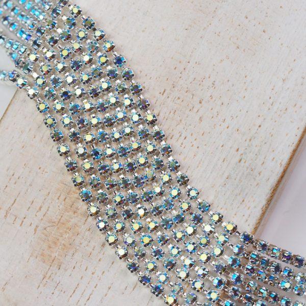 2 mm rhinestone chain with Smoked Sapphire AB Preciosa crystals in silver setting x 20 cm