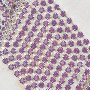 3.2 mm rhinestone chain with Amethyst Opal Preciosa crystals in silver setting x 20 cm