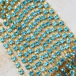 3.2 mm rhinestone chain with Aqua Bohemica Preciosa crystals in raw setting x 20 cm