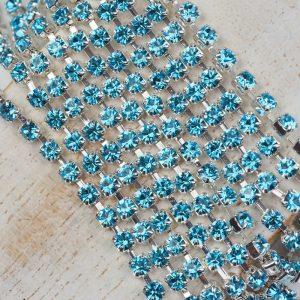 3.2 mm rhinestone chain with Aqua Bohemica Preciosa crystals in silver setting x 20 cm