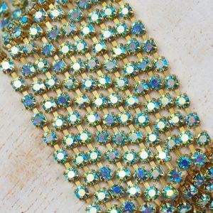 3.2 mm rhinestone chain with Aqua Bohemica AB Preciosa crystals in raw setting x 20 cm