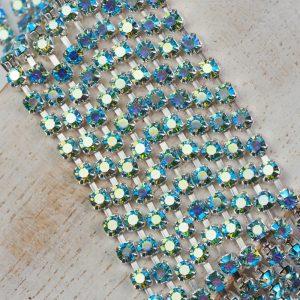 3.2 mm rhinestone chain with Aqua Bohemica AB Preciosa crystals in silver setting x 20 cm