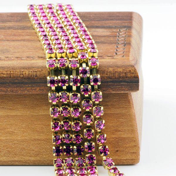 3.2 mm rhinestone chain with Fuchsia Preciosa crystals in raw setting x 20 cm