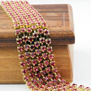 3.2 mm rhinestone chain with Indian Pink Preciosa crystals in raw setting x 20 cm