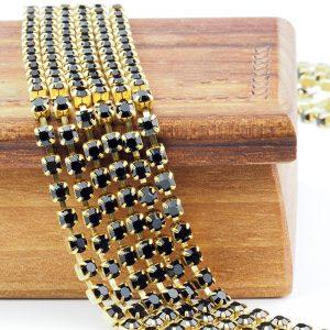 3.2 mm rhinestone chain with Jet Preciosa crystals in raw setting x 20 cm