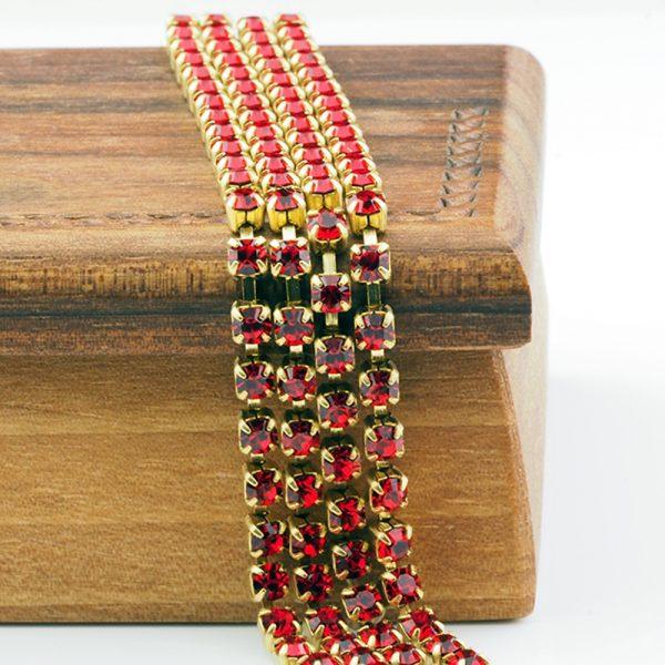 3.2 mm rhinestone chain with Light Siam Preciosa crystals in raw setting x 20 cm
