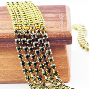 3.2 mm rhinestone chain with Olivine Preciosa crystals in raw setting x 20 cm