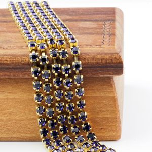 3.2 mm rhinestone chain with Purple Velvet Preciosa crystals in raw setting x 20 cm