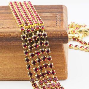 3.2 mm rhinestone chain with Ruby Preciosa crystals in raw setting x 20 cm