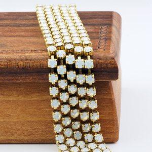 3.2 mm rhinestone chain with White Opal Preciosa crystals in raw setting x 20 cm