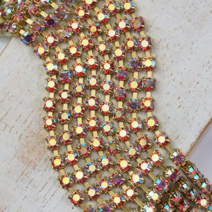 3 mm rhinestone chain with Rose AB Preciosa crystals in raw setting x 20 cm