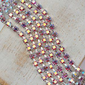 3 mm rhinestone chain with Rose AB Preciosa crystals in silver setting x 20 cm