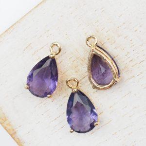15x8x6 mm drop in metal setting Amethyst Purple x 1 pc