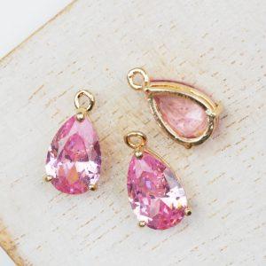 15x8x6 mm drop in metal setting Ballerina Pink x 1 pc
