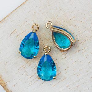 15x8x6 mm drop in metal setting Vibrant Blue x 1 pc