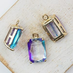 17.5x10x6.5 mm drop in metal setting Blue/Purple/Transparent Rainbow x 1 pc