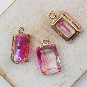 17.5x10x6.5 mm drop in metal setting Pink/Transparent Rainbow x 1 pc