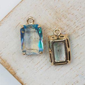 17.5x10x6.5 mm drop in metal setting Tourmaline/Transparent Rainbow x 1 pc