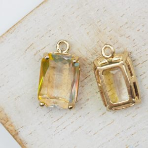 17.5x10x6.5 mm drop in metal setting Yellow/Transparent Rainbow x 1 pc