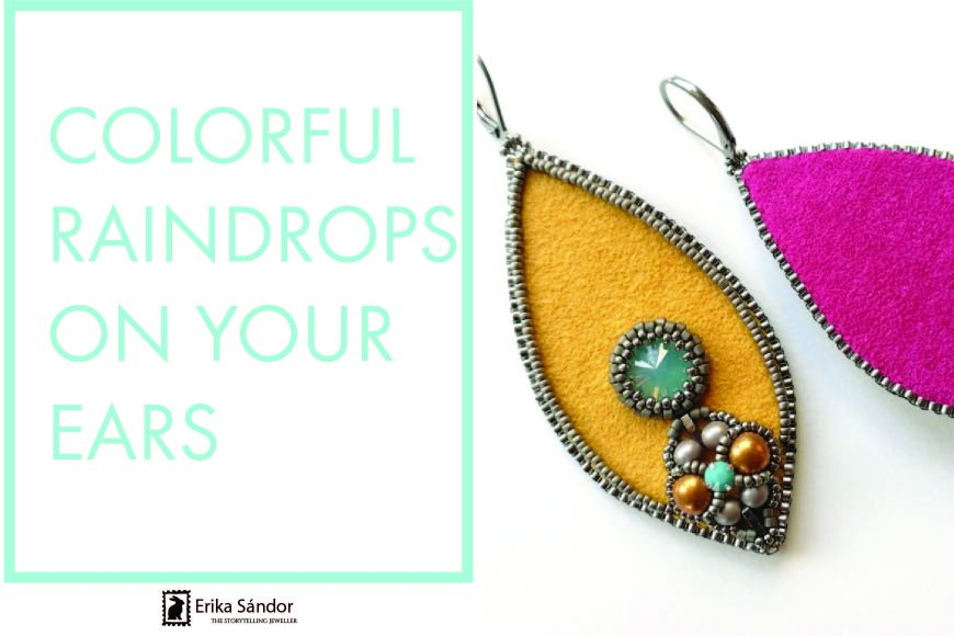 Colorful Raindrops on your ears – bead embroidery tutorial