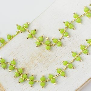 Chain with Light Olive Green beads x 10 cm