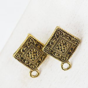 Patina gold earstuds 18 x 22 mm x 2 pcs