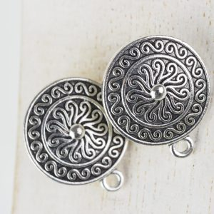 Patina silver earstud 19 x 23 mm x 2 pc