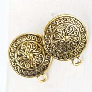 Patina gold earstud 19 x 23 mm x 2 pc