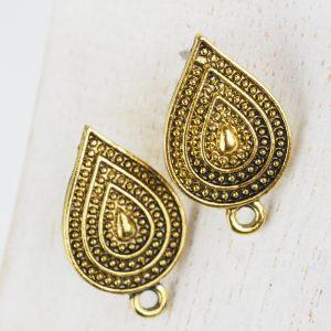 Patina gold earstud 27 x 16 mm x 2 pc