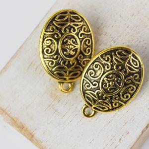 Patina gold earstud 25 x 12 mm x 2 pc