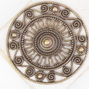 Antique bronze filigree Aztec 46x46 mm x 1 pc