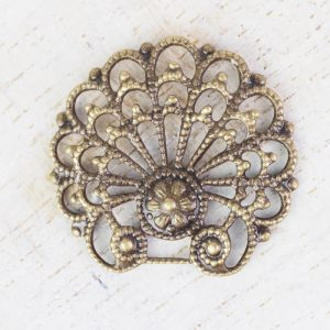 Antique bronze filigree baroque shell 24x23 mm x 1 pc