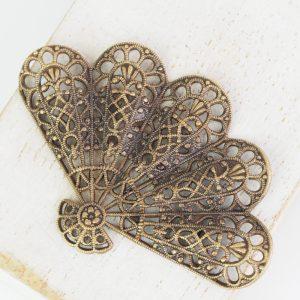 Antique bronze filigree big fan 54x36 mm x 1 pc