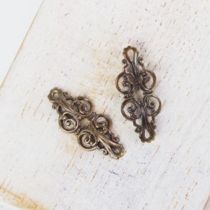 Antique bronze filigree buckle 20x9 mm x 1 pc