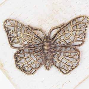 Antique bronze filigree butterfly 38x25 mm x 1 pc