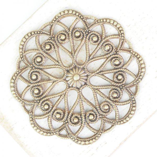 Antique bronze filigree circle dance 43x43 mm x 1 pc