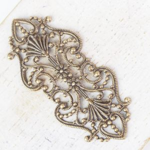 Antique bronze filigree elegant 43x19 mm x 1 pc