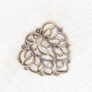 Antique bronze filigree falling leaf 18x18 mm x 1 pc