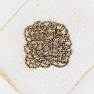 Antique bronze filigree flower fan 30x30 mm x 1 pc