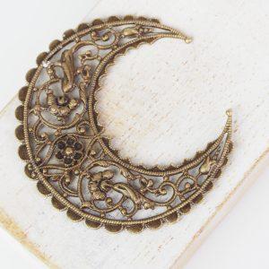 Antique bronze filigree medium crescent 44x48 mm x 1 pc