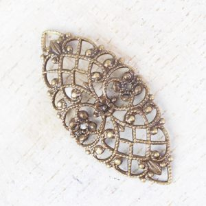 Antique bronze filigree navette 33x15 mm x 1 pc