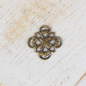 Antique bronze filigree ornament square 10x10 mm x 1 pc
